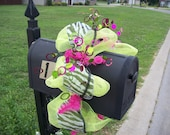 Lime Green  and Pink Zebra Mailbox Topper
