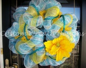 Turquoise and Yellow Stripe Mesh Wreath with Flower