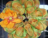 Orange and Lime Green Plaid Wreath with Flower