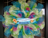 SALE Life is Great at the Beach Sign Mesh Wreath SALE