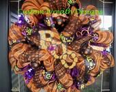 Orange and Black Stripe Halloween BOO Wreath