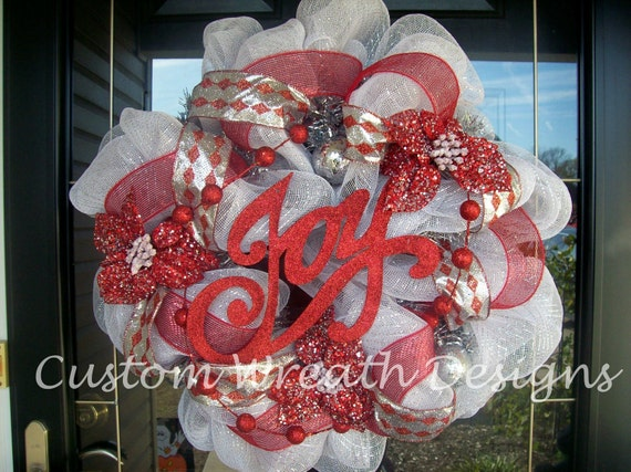 Red and Silver Mesh Christmas Wreath ON SALE