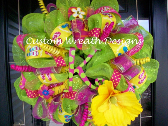 Flip Flop Summer Splash Mesh Wreath