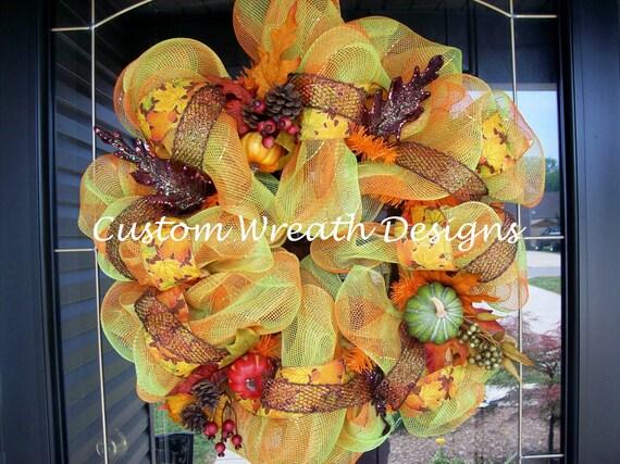 Fall Pumpkin Plaid Mesh Wreath SALE