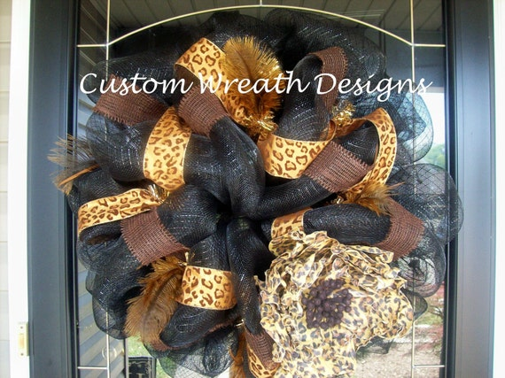 Black and Burlap Leopard Mesh Wreath