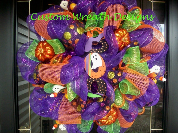 Boo Ghost Halloween Mesh Wreath