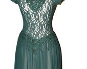 SALE: Vintage 60's Emerald Green Party Dress short sleeved wiggle lace dress