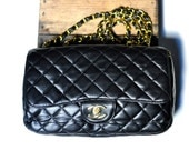 CHANEL 2.55 Black Purse quilted shoulder chain bag