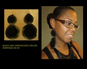 Black Camouflage circle Earrings
