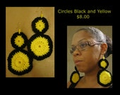 Circle Earrings black and yellow