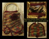 Bamboo handle Bag in Fall mix