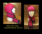 PInk and Teal hoodedscarf