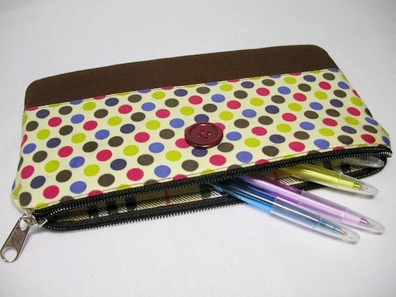 Retro Style Polka Dot Pencil Case / Zipper Pouch / Padded