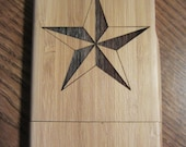 Bamboo wood iphone 4 case with custom engraved Nautical Star design Verizon and At&t