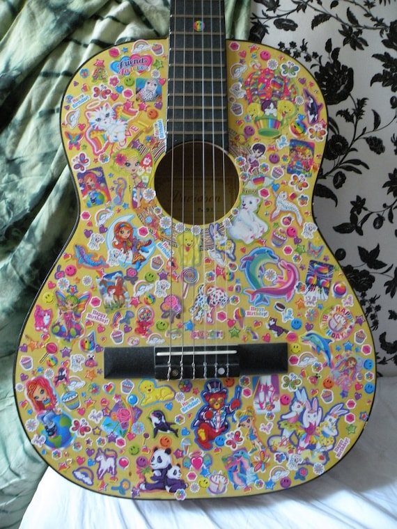 Items Similar To Lisa Frank Sticker Covered Acoustic