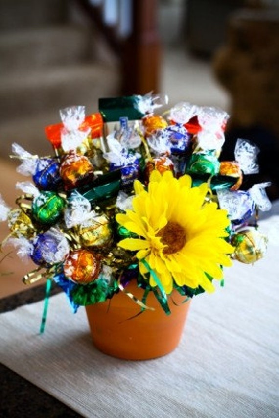 Clay Pot with Flower - Premium Chocolate Candy Bouquet