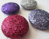 Berry Berry Magnets - Purple Fuschia Lilac Silver Glitter - Office Supplies Home Decor Refrigerator - set of 4