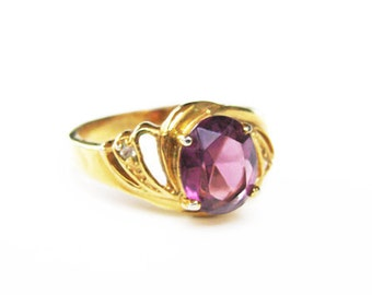 Vintage Rhinestone Ring in Amethyst Tone, Size 9, Engagement Ring - Bague de Strass.