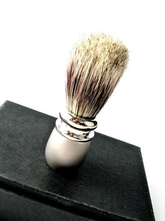 Vintage Silver Shaving Brush Badger, Old Hollywood Style - Rasage Brosse. Vintage Jewelry by My Chouchou on Etsy.