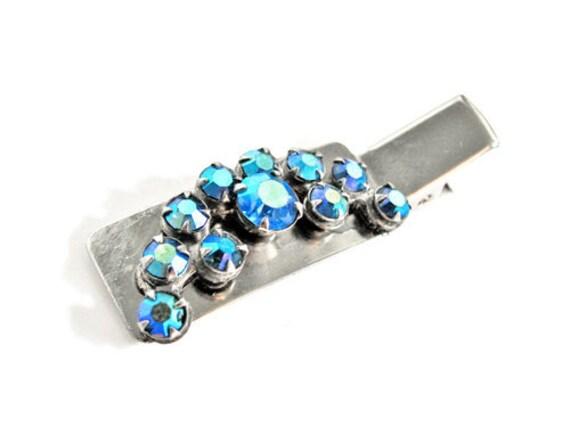 Hair Clip Vintage Blue Aurora Borealis Rhinestones - Bridal Wedding Silver. Vintage and Handmade Jewelry by My Chouchou on Etsy.