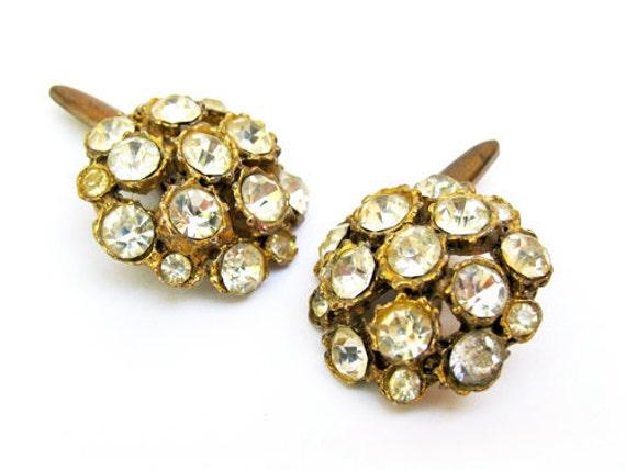 Vintage Cufflinks Rhinestone French Style - Boutons de Manchett. Vintage Jewelry by My Chouchou on Etsy.