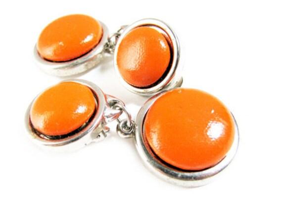 Vintage Earrings Orange Twiggy Style  - Boucles d'Oreilles. Vintage Jewelry by My Chouchou.