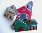Barns: Waldorf inspired barns set of three. Ready to ship in one week.