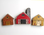 Barns. waldorf barn wooden toys: Set of three little wooden barns. Red, brown, and yellow barns. Kid gift.