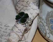 Shamrock Button Ring