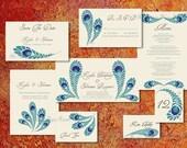 CUSTOM ORDER for Anila - Wedding Program Suite PDF Royal Peacock  Feather Indian Punjabi Asian Pakistani Printable Order Prints Boho Chic