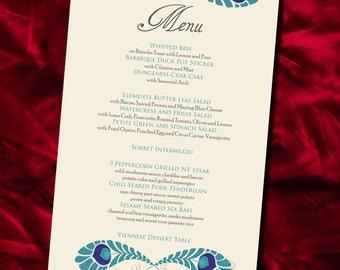 Indian Wedding Menu DIY Printable ROYAL PEACOCK Decor Pdf Design Template Table Setting Decoration Card Digital