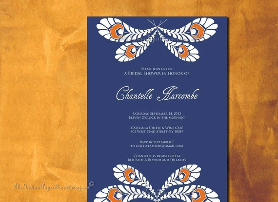 Peacock Wedding Invitations Template: PRINTABLE Invitation ROYAL PEACOCK Diy By TheIndianPaperForest