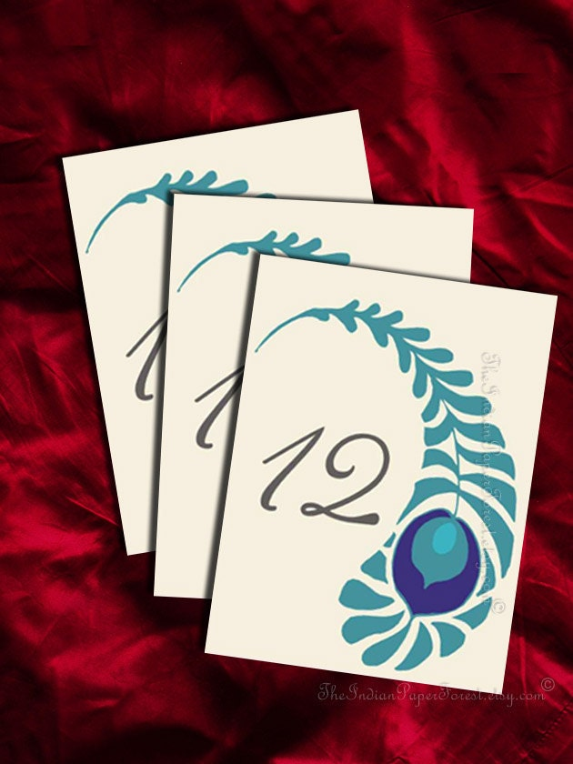 Printable royal peacock table numbers diy wedding decor for Table number design template