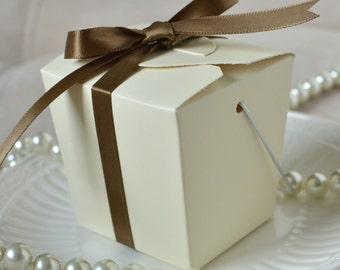 Take Out Box- Ivory Take Out Favor Boxes-Set of 12