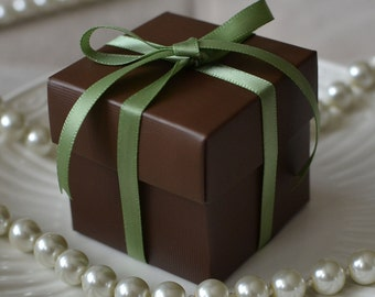 10 Chocolate Brown Favor Boxes
