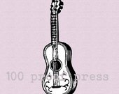 Acoustic  Guitar  Rubber Stamp 987