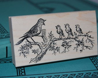 Songbirds Singing Lesson Wood Mounted Rubber Stamp 3313