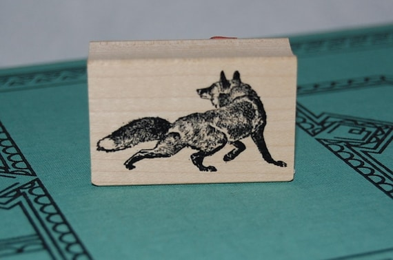 Fox Wood Mounted Rubber Stamp 3175