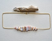 champagne dreams peruvian opal and czech gold seed beads necklace