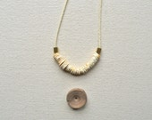 The Archaic Necklace in Bone White- Antique Ostrich Shell and Hand Cut Raw Brass