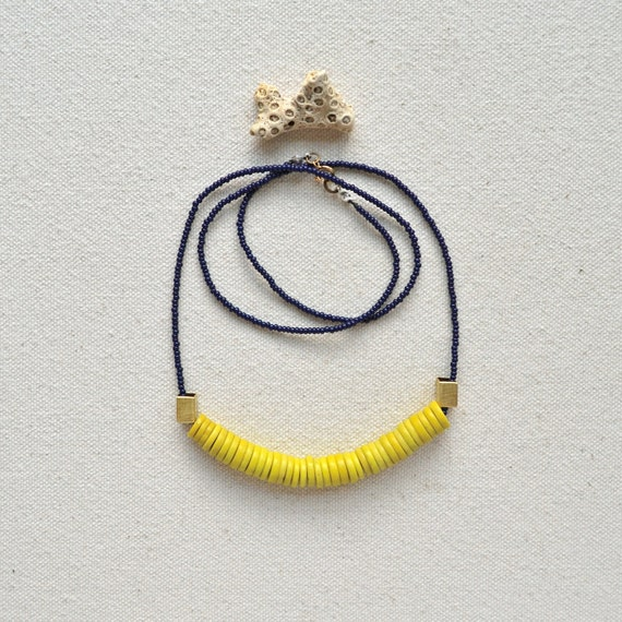 The Conquest Necklace- Navy and Yellow with African Trade Beads