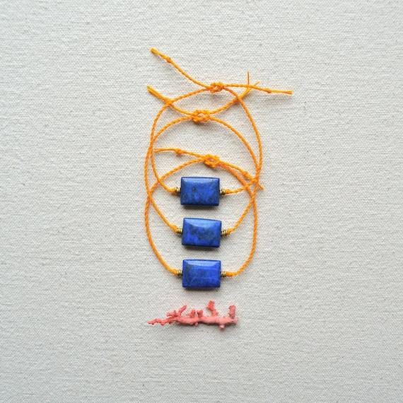 Euphrates Bracelet- Deep Blue Lapis Lazuli and Golden Braided Linen