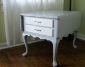 Wood Side Table Eco Refinish Gray Paint