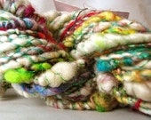 White and multi yarn plied with turquoise thread HYMQ01