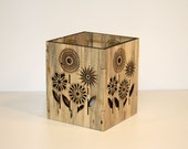 Blued Pine Candle Holder- Fun Flowers Design
