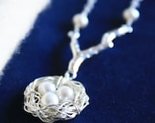 Bird Nest Necklace - Sterling Silver Branch & Pearl Nest of 3 - Mother's Day / Mother To Be Gift - Wedding Jewelry