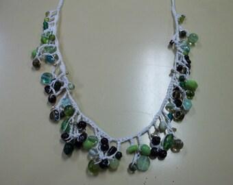 Green Beaded Delicate Crochet Necklace