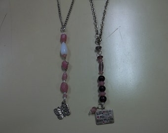 """Purples Pinks """"Love My Cat"""" Car Charms"""