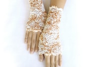 Victorian  cream lace gloves cuffs mittens lace gloves