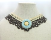brown ivory lace collar vintage jewelry romantic choker